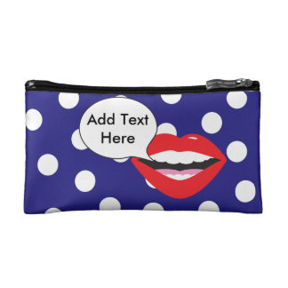 Polka Dots Red Lips Comment Bubble Makeup Bag
