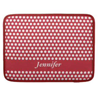 Polka dots red & white girls name macbook sleeve