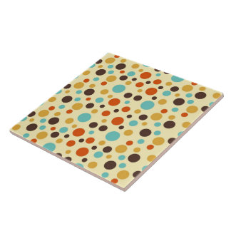 Polka Dots Retro Colors Blue Yellow Red Tile