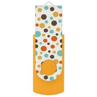 Polka Dots Retro Colors Blue Yellow Red USB Flash Drive