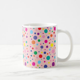 Polka Dots   Rose Quartz Customised Background Clr Coffee Mug
