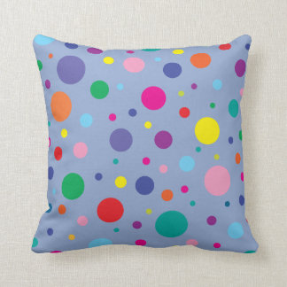 Polka Dots   Serenity Blue   Change BG colour Throw Pillow
