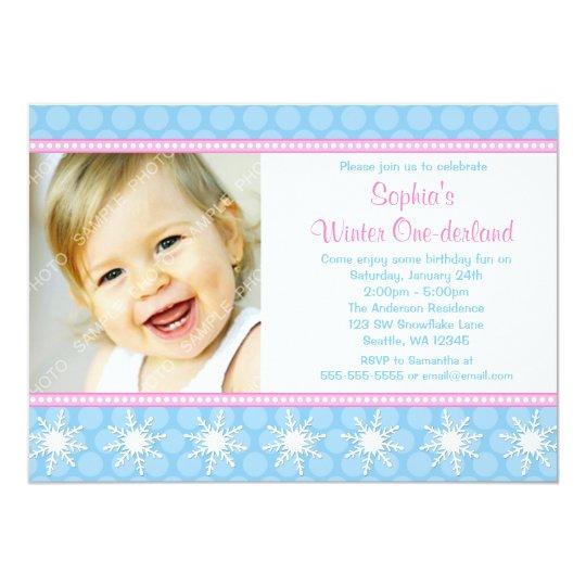 Polka Dots Snowflakes Winter Onederland Birthday Card