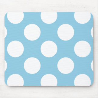 Polka Dots, Spots (Dotted Pattern) - Blue White Mouse Pad