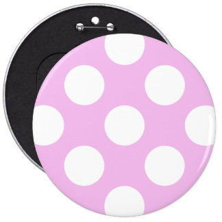 Polka Dots, Spots (Dotted Pattern) - Pink White 6 Cm Round Badge