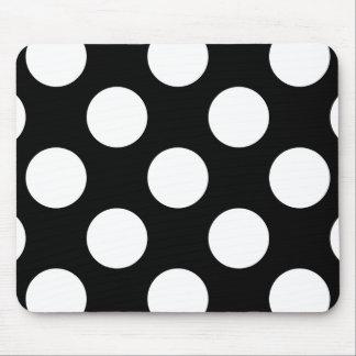 Polka Dots, Spots (Dotted Pattern) - White Black Mouse Mat