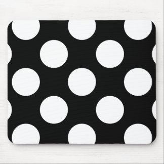 Polka Dots Spots Dotted Pattern - White Black Mouse Pad