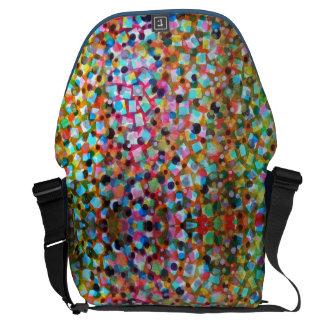 Polka Dots Square Canvas Large Messenger Bag 3