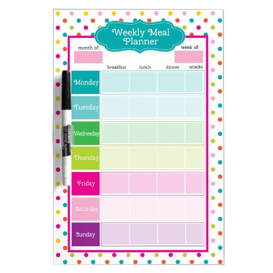 Polka Dots & Stripes Weekly Meals Dry Erase