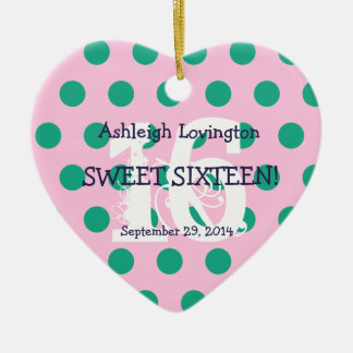 Polka Dots Sweet 16 Birthday V05A PINK GREEN Christmas Ornament