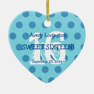 Polka Dots Sweet 16 Birthday V06 AQUA and BLUE Christmas Ornament