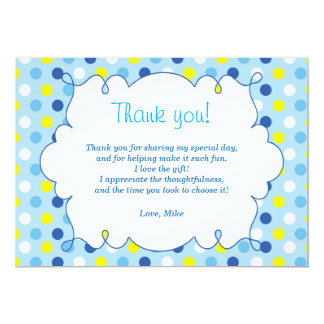 Polka Dots Thank You Card Yellow Blue 13 Cm X 18 Cm Invitation Card