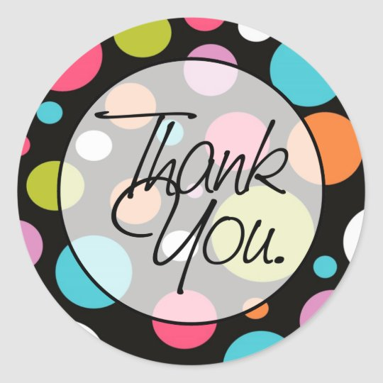 Polka Dots | Thank You Classic Round Sticker