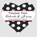 Polka Dots Thank You Wedding Heart B459 Heart Sticker