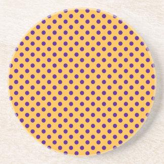 Polka Dots - Violet on Orange Drink Coasters
