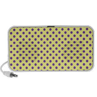Polka Dots - Violet on Yellow Portable Speaker