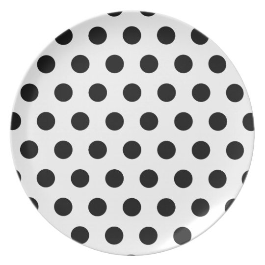 Polka Dots White & Black Plate