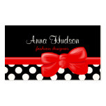 Polka Dots White, Black, Red Business Card Templates