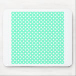 Polka Dots - White on Aquamarine Mousepad