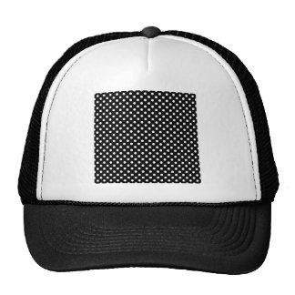 Polka Dots - White on Black Mesh Hat