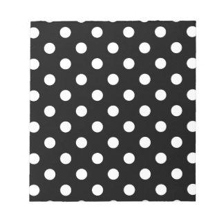 Polka Dots - White on Black Notepad