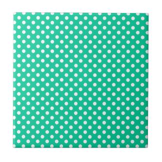 Polka Dots - White on Caribbean Green Tile