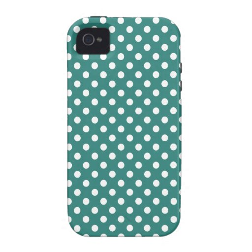 Polka Dots - White on Celadon Green Vibe iPhone 4 Cases