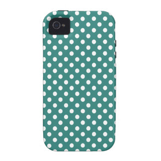 Polka Dots - White on Celadon Green iPhone 4 Cases