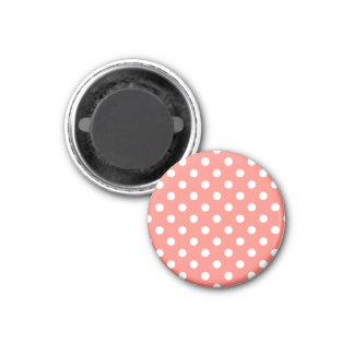 Polka Dots - White on Coral Pink 3 Cm Round Magnet