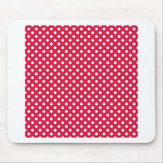 Polka Dots - White on Crimson Mouse Pads