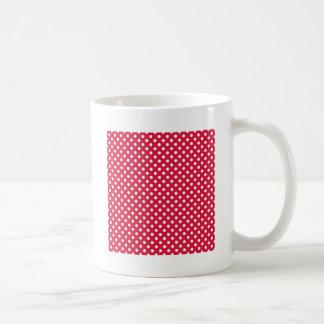 Polka Dots - White on Crimson Mugs