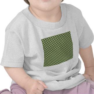Polka Dots - White on Dark Olive Green Tshirts