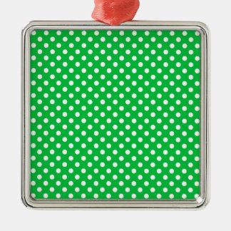 Polka Dots - White on Dark Pastel Green Silver-Colored Square Decoration