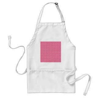 Polka Dots - White on Dark Pink Standard Apron