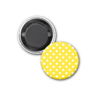 Polka Dots - White on Golden Yellow 3 Cm Round Magnet