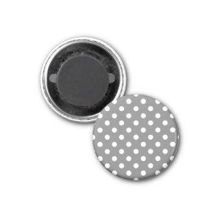 Polka Dots - White on Gray 3 Cm Round Magnet