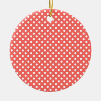 Polka Dots - White on Pastel Red Round Ceramic Decoration