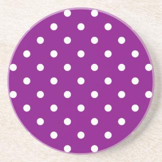 Polka Dots - White on Purple Coasters