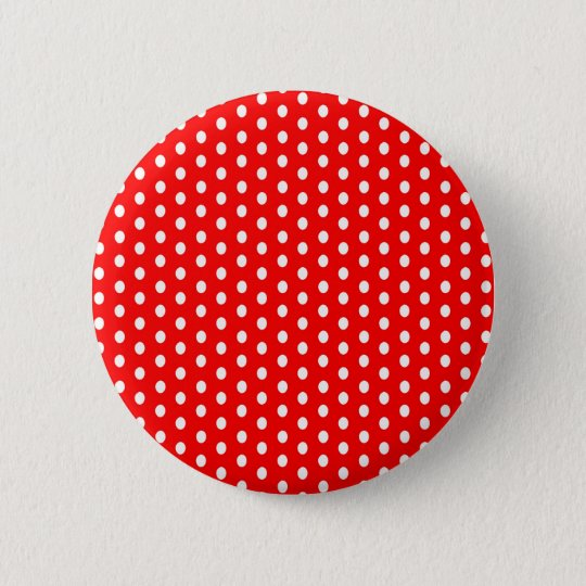 Polka dots white on red 6 cm round