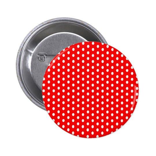 Polka dots white on red 6 cm round