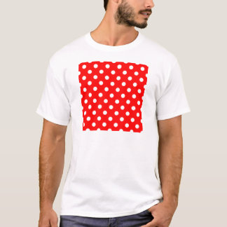 Polka Dots - White on Red T-Shirt