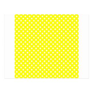 Polka Dots - White on Yellow Postcard