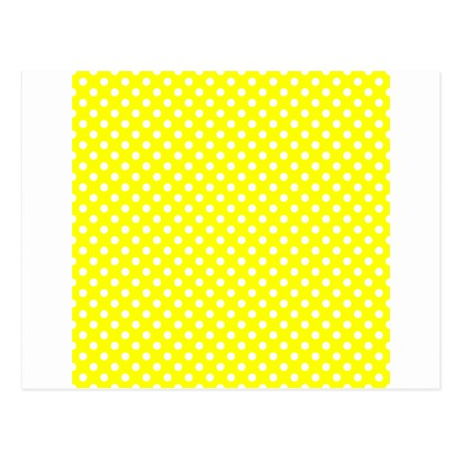 Polka Dots - White on Yellow Post Cards