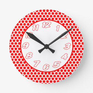 Polka Dots- White & Red Round Clock