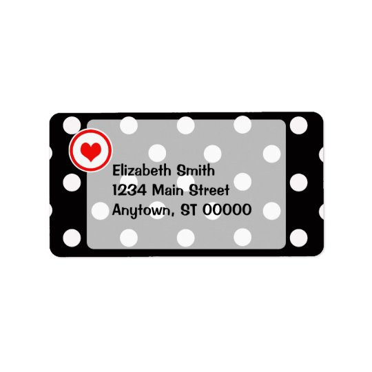 Polka Dots with a Heart V6 Address Label