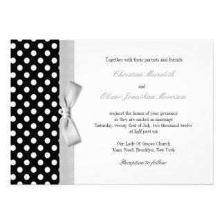Polka Dots With Gray Bow Wedding Invitation