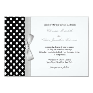 Polka Dots With Grey Bow Wedding Invitation