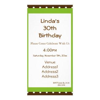 Polka Dots with Lime Chocolate Birthday Photo Greeting Card