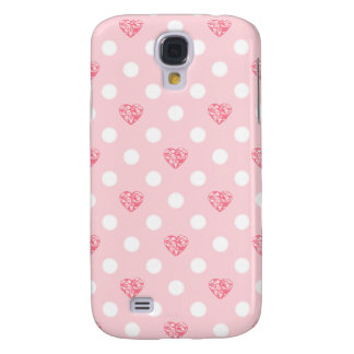 Polka Dots with Pink Hearts Galaxy S4 Case