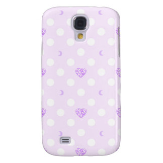 Polka Dots with Purple Hearts and Moons Galaxy S4 Case